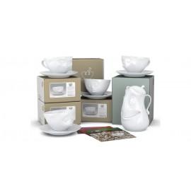 Set à café avec 4 grandes tasses, 2 mugs et une théière