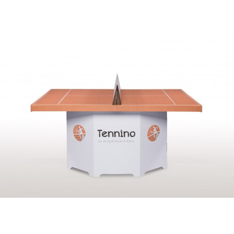 De witte kartonnen tennis/ping pong tafel
